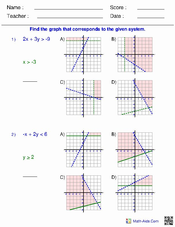 Graphing Systems Of Inequalities Worksheet New System Inequalities Worksheet