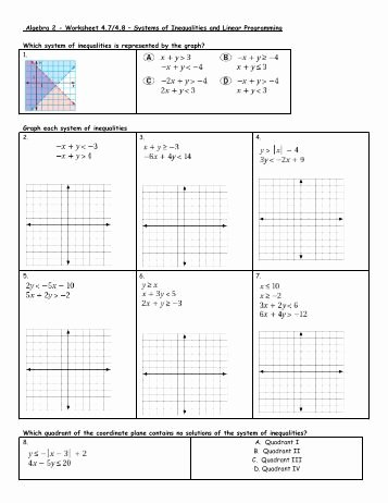 Graphing Systems Of Inequalities Worksheet Unique solving Systems Inequalities by Graphing Worksheet