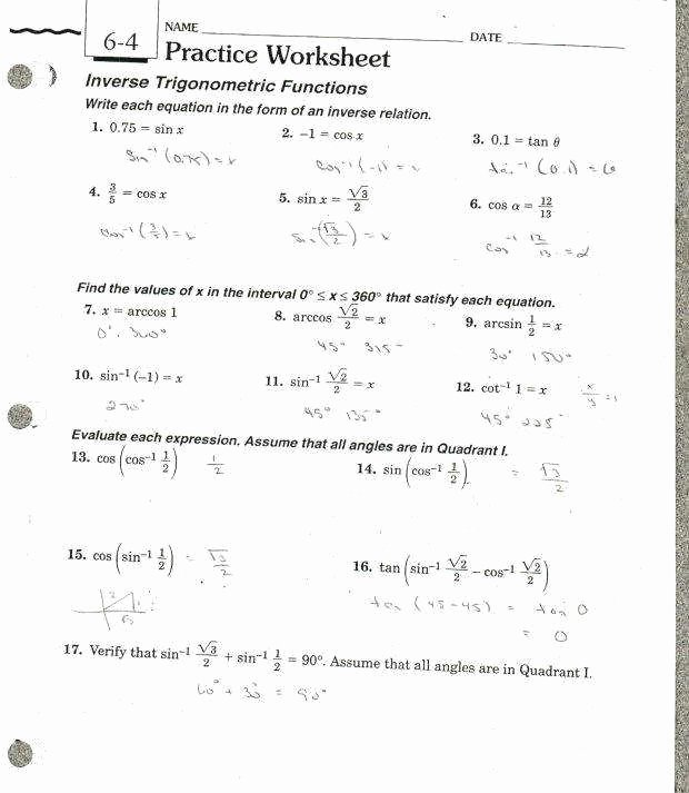 Graphing Trig Functions Practice Worksheet Inspirational Trig Worksheets