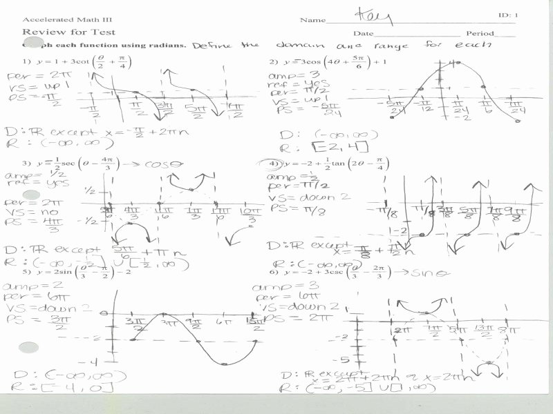 Graphing Trig Functions Practice Worksheet New Graphing Trig Functions Worksheet with Answers Free