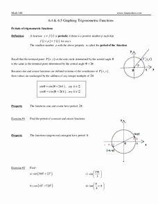 Graphing Trig Functions Worksheet Fresh Graphing Trigonometric Functions 9th 12th Grade
