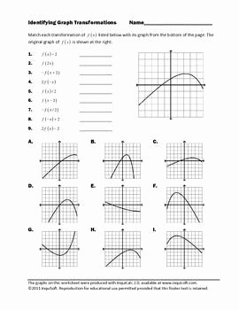 Graphs Of Functions Worksheet Inspirational Identifying Graph Transformations Algebra 2