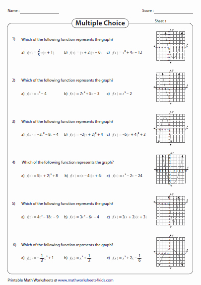 Graphs Of Functions Worksheet New Graphing Quadratic Function Worksheets