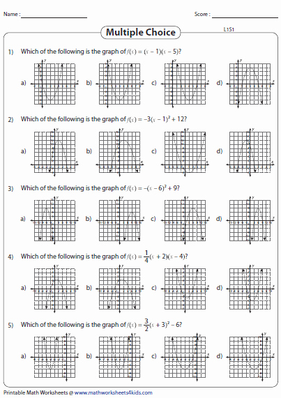 Graphs Of Functions Worksheet Unique Graphing Quadratic Function Worksheets