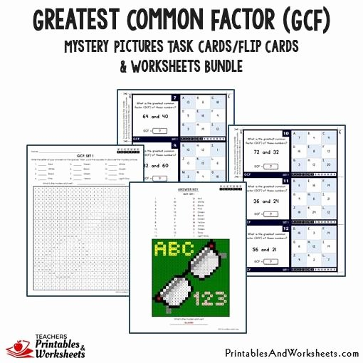 Greatest Common Factor Worksheet Unique Greatest Mon Factor Gcf Task Cards and Worksheets