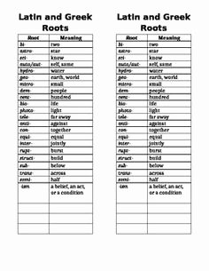 Greek and Latin Roots Worksheet Luxury 1000 Images About Latin and Greek Roots On Pinterest