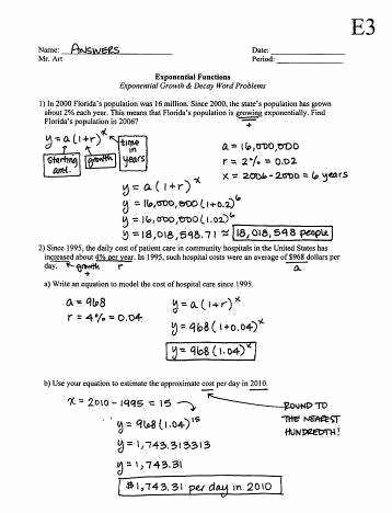 Growth and Decay Worksheet Awesome Exponential Growth and Decay Worksheet