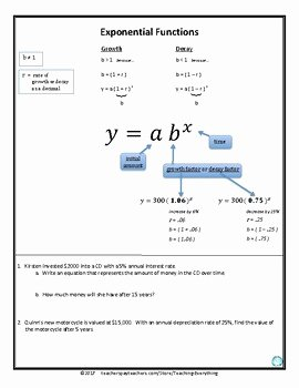Growth and Decay Worksheet Best Of Exponential Growth and Decay Functions Scaffolded Notes