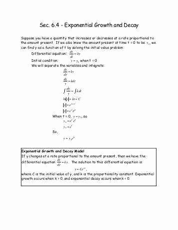 Growth and Decay Worksheet Fresh Exponential Growth and Decay Worksheet
