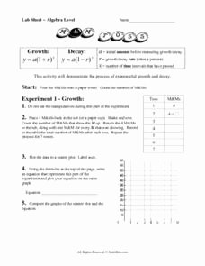 Growth and Decay Worksheet Fresh Lab Sheet Exponential Growth and Decay 8th 9th Grade