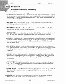 Growth and Decay Worksheet Inspirational 10 6 Practice Exponential Growth and Decay 10th 12th