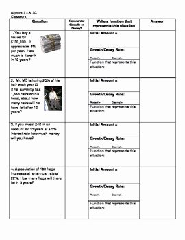 Growth and Decay Worksheet New Free Exponential Growth and Decay Student Worksheet