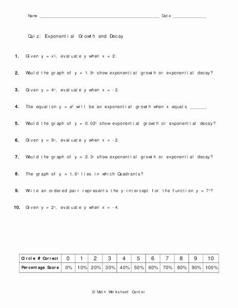 Growth and Decay Worksheet Unique Exponential Growth and Decay Worksheet for 8th 10th