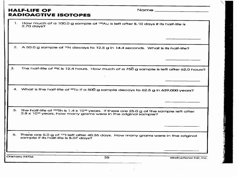 Half Life Worksheet Answers Best Of Half Life Radioactive isotopes Worksheet Answers Free