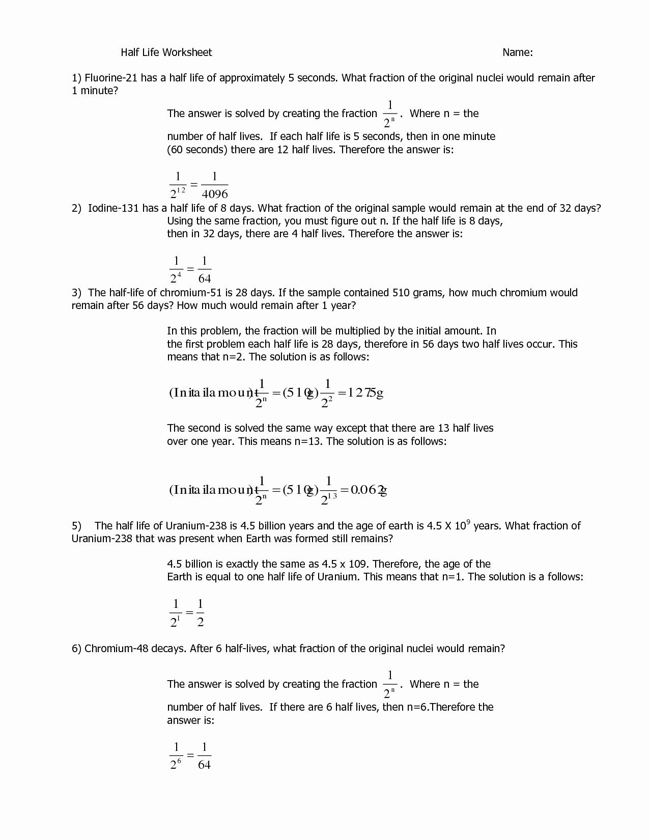 Half Life Worksheet Answers Elegant 8 Best Of Ph Problems Worksheet Concentration