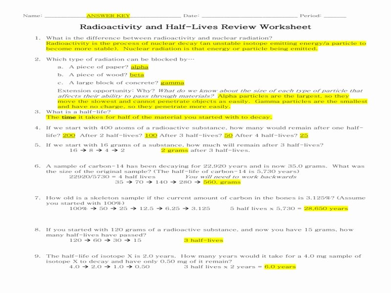 Half Life Worksheet Answers Fresh Half Life Radioactive isotopes Worksheet Answers Free