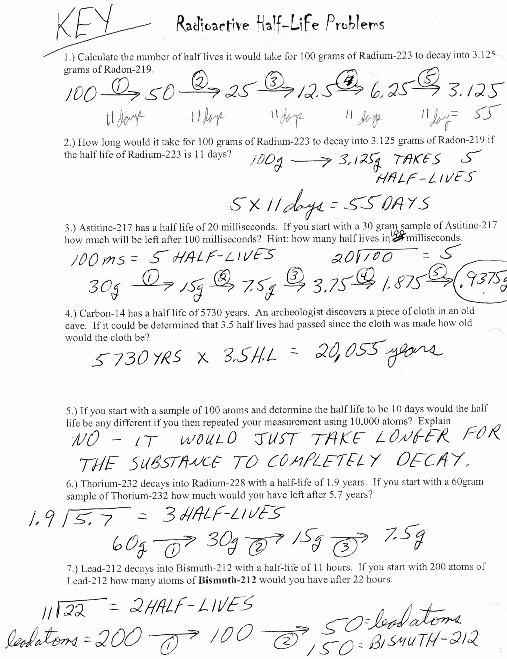 Half Life Worksheet Answers Inspirational Half Life Problems Chemistry Worksheet with Answers