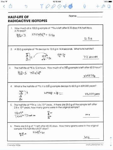 Half Life Worksheet Answers New Nuclear Decay Worksheet