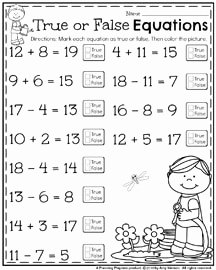 Hands On Equations Worksheet Lovely May First Grade Worksheets for Spring Planning Playtime
