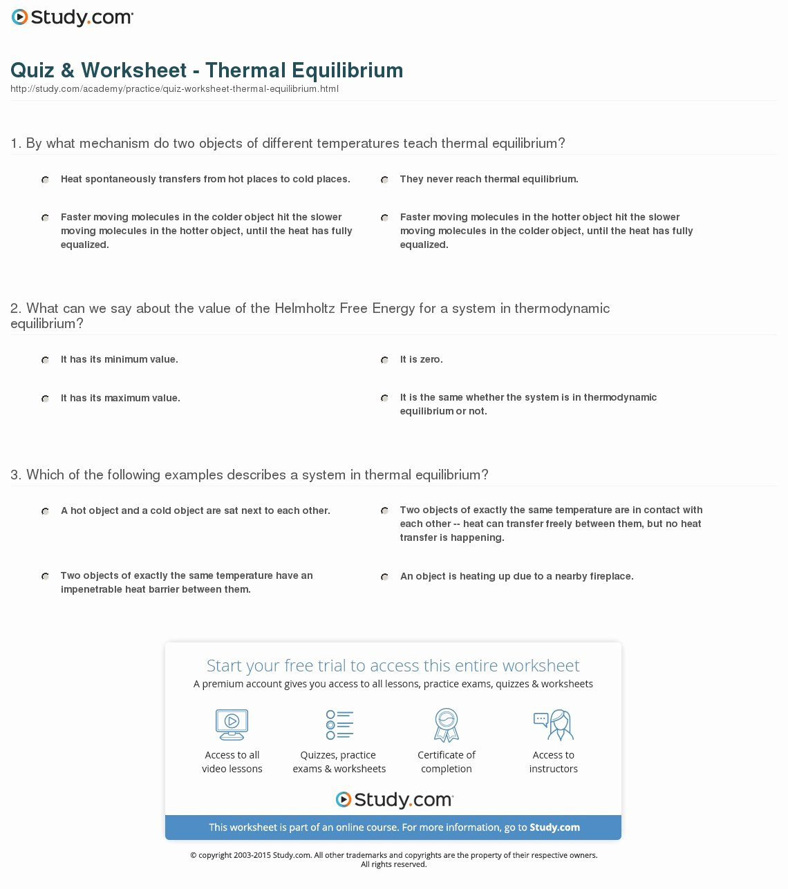 Heat and Temperature Worksheet Inspirational Quiz & Worksheet thermal Equilibrium