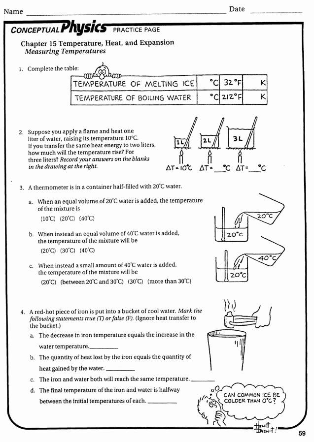 Heat and Temperature Worksheet Unique 12 Best Of Heat and Temperature Worksheets