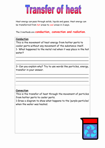 Heat and Temperature Worksheet Unique Heat Energy Transfer Worksheet by 1mightyhamster