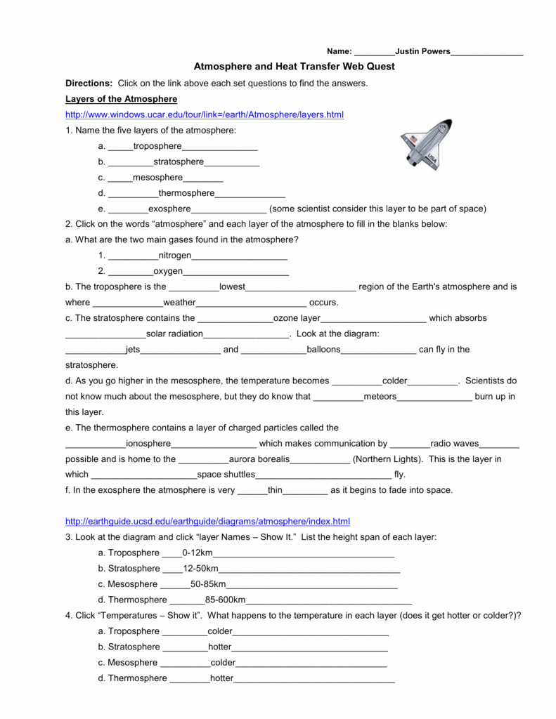 Heat Transfer Worksheet Answer Key Best Of Heat Transfer In the atmosphere Worksheet Breadandhearth