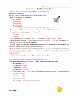 Heat Transfer Worksheet Answer Key Fresh Heat Transfer In the atmosphere Worksheet Breadandhearth