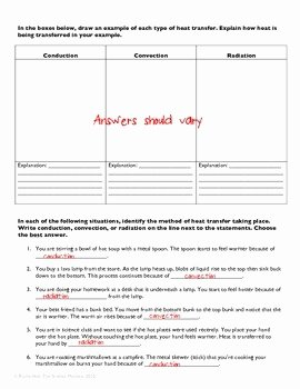 Heat Transfer Worksheet Answers New Heat Transfer Practice Worksheet by the Science Matters