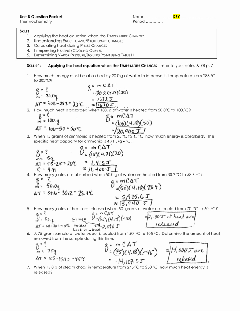Heating and Cooling Curve Worksheet Inspirational Heating Cooling Curve Worksheet the Best Worksheets Image