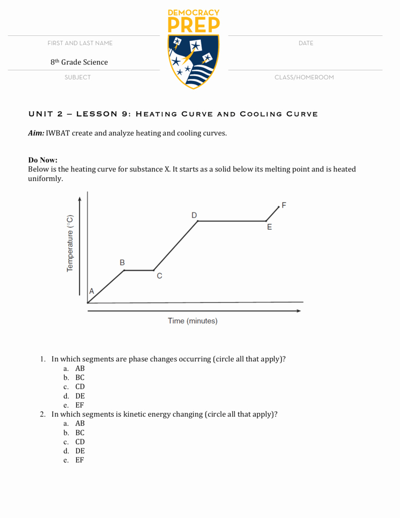 Heating and Cooling Curve Worksheet Lovely Chemistry Heating Curve Worksheet Answers