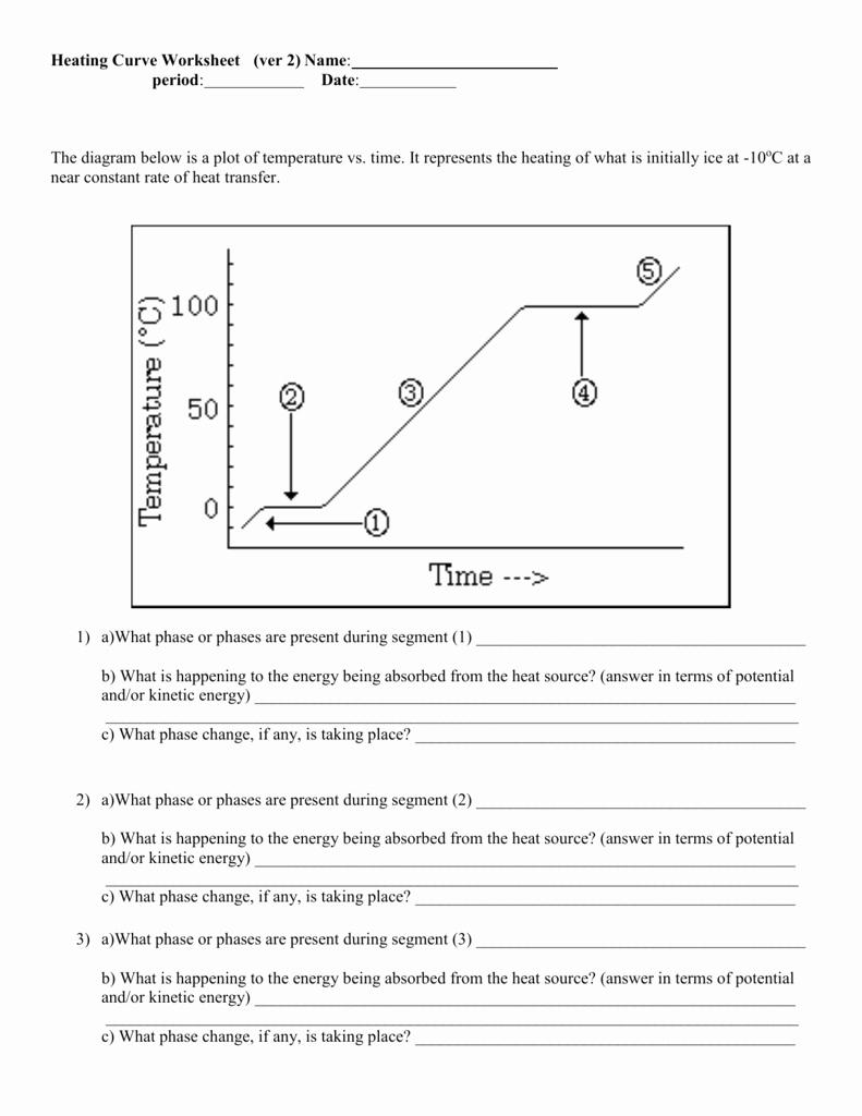 Heating Curve Worksheet Answers Fresh Heating Curve Worksheet