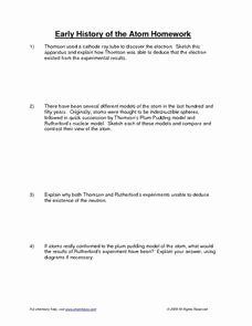 History Of the atom Worksheet Elegant Early History Of the atom Homework 9th 12th Grade