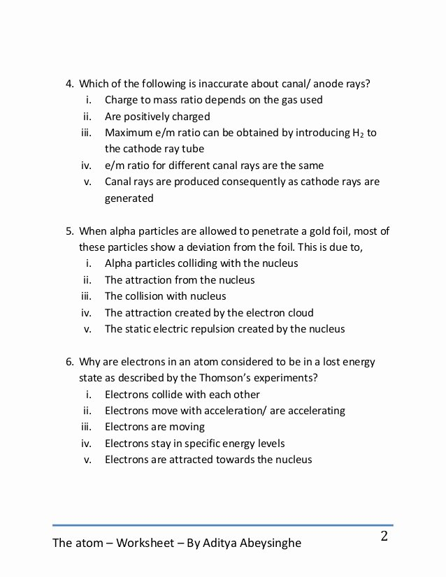 History Of the atom Worksheet Elegant the atom Worksheet