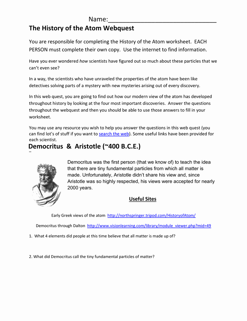 History Of the atom Worksheet Luxury the History Of the atom Webquest