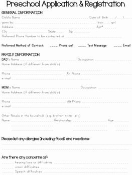 Home Daycare Tax Worksheet Fresh Preschool Application & Registration form