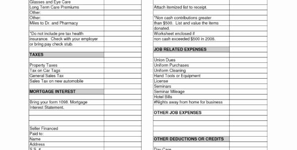 Home Daycare Tax Worksheet Unique Irs Donation Value Guide 2018 Spreadsheet Payment