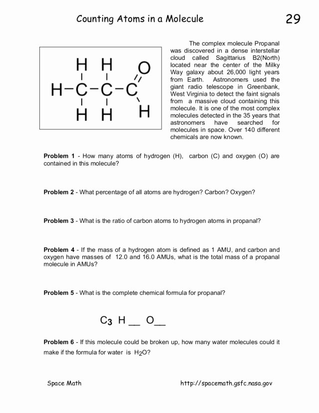 How to Count atoms Worksheet Fresh Counting atoms In A Molecule Worksheet for 8th 10th