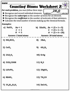 How to Count atoms Worksheet Inspirational Worksheet Counting atoms Version B
