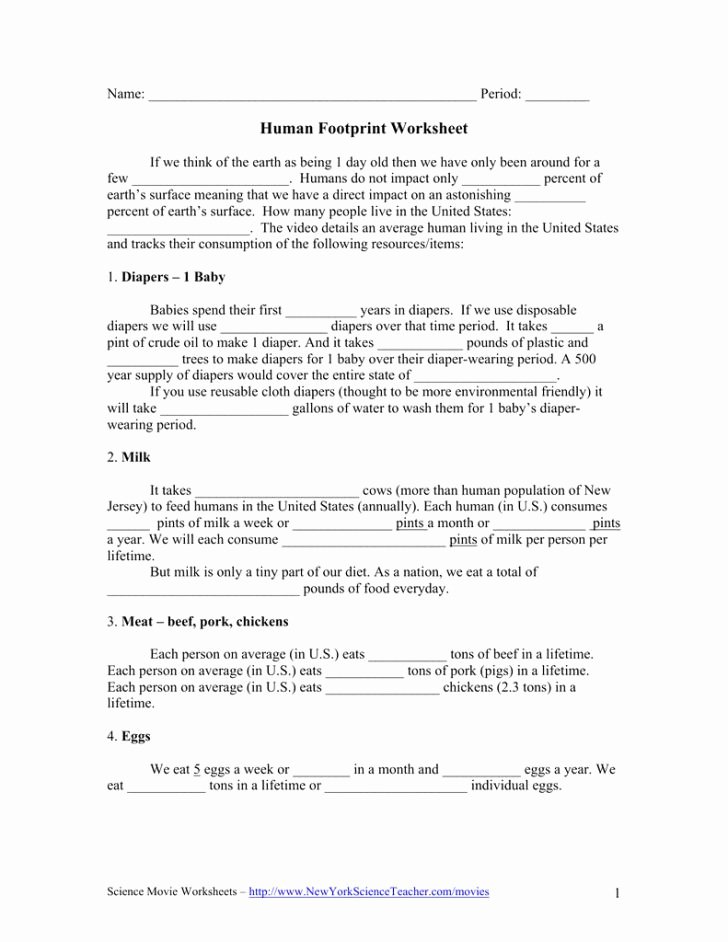 Human Footprint Worksheet Answers Luxury Ecological Footprint Worksheet Answers – Festival Collections