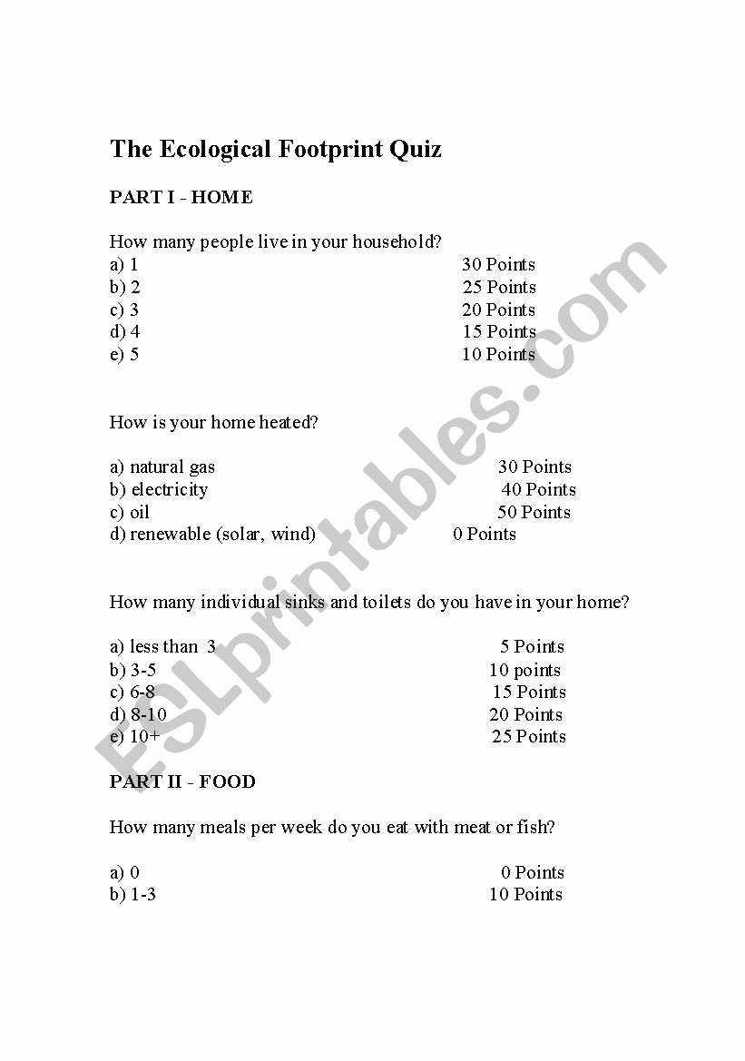 Human Footprint Worksheet Answers New Ecological Footprint Quiz Esl Worksheet by Mekelly1