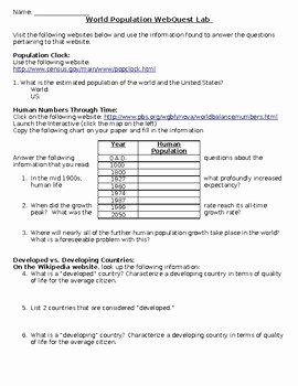 Human Population Growth Worksheet Beautiful World Population Webquest Worksheet by Agriculture