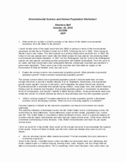Human Population Growth Worksheet Elegant Environmental Science and Human Population Worksheet