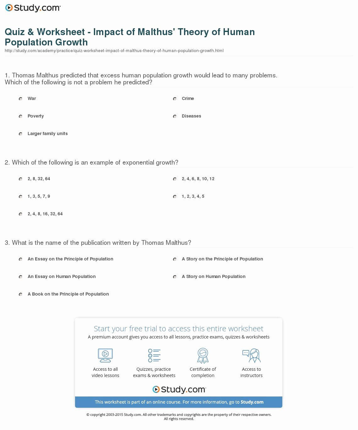 Human Population Growth Worksheet Inspirational Quiz & Worksheet Impact Of Malthus theory Of Human