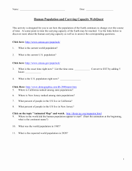Human Population Growth Worksheet Lovely Name Human Population and Carrying Capacity Webquest This