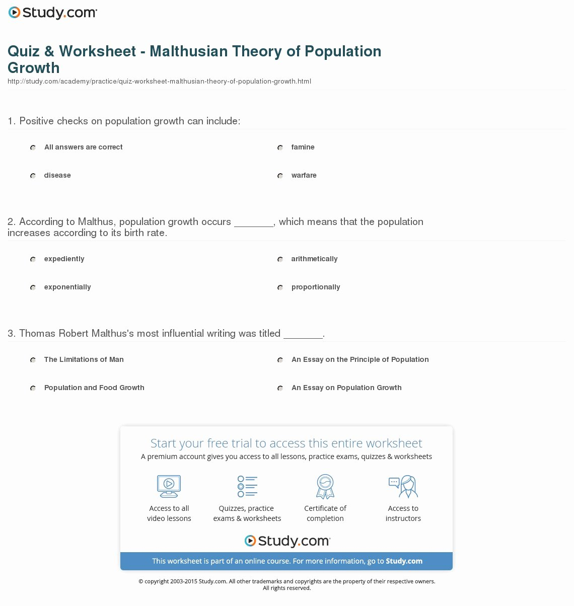 Human Population Growth Worksheet Lovely Quiz & Worksheet Malthusian theory Of Population Growth