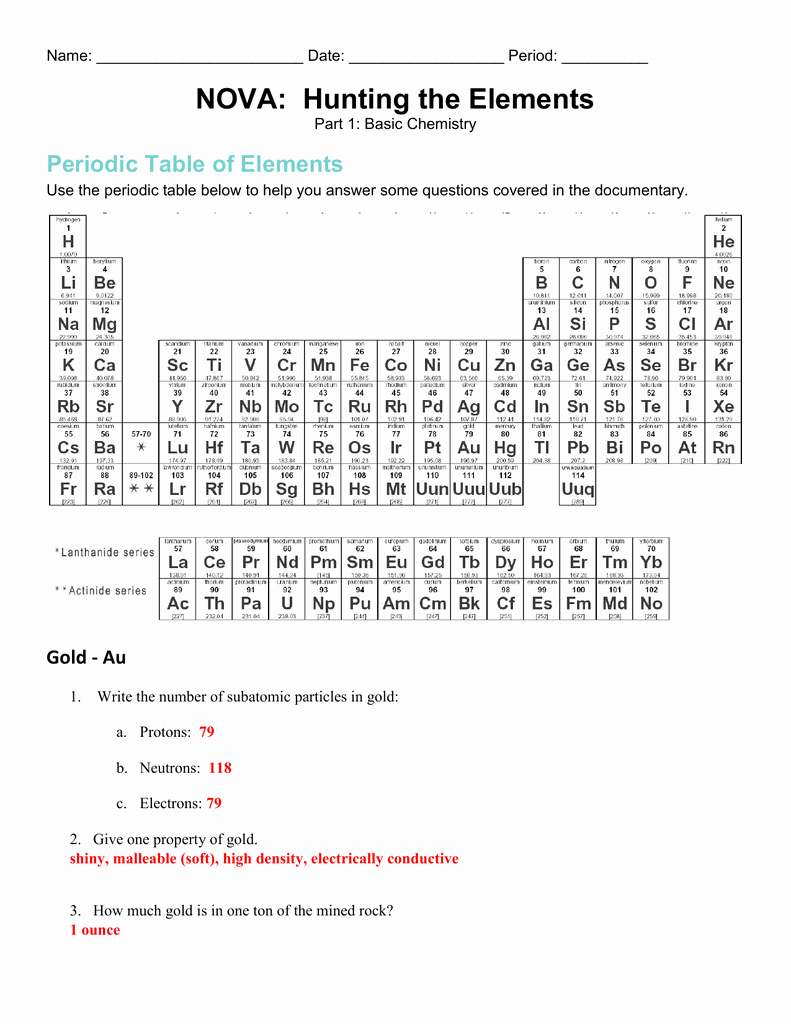 Hunting the Elements Video Worksheet Best Of Nova Hunting the Elements – Worksheets Samples