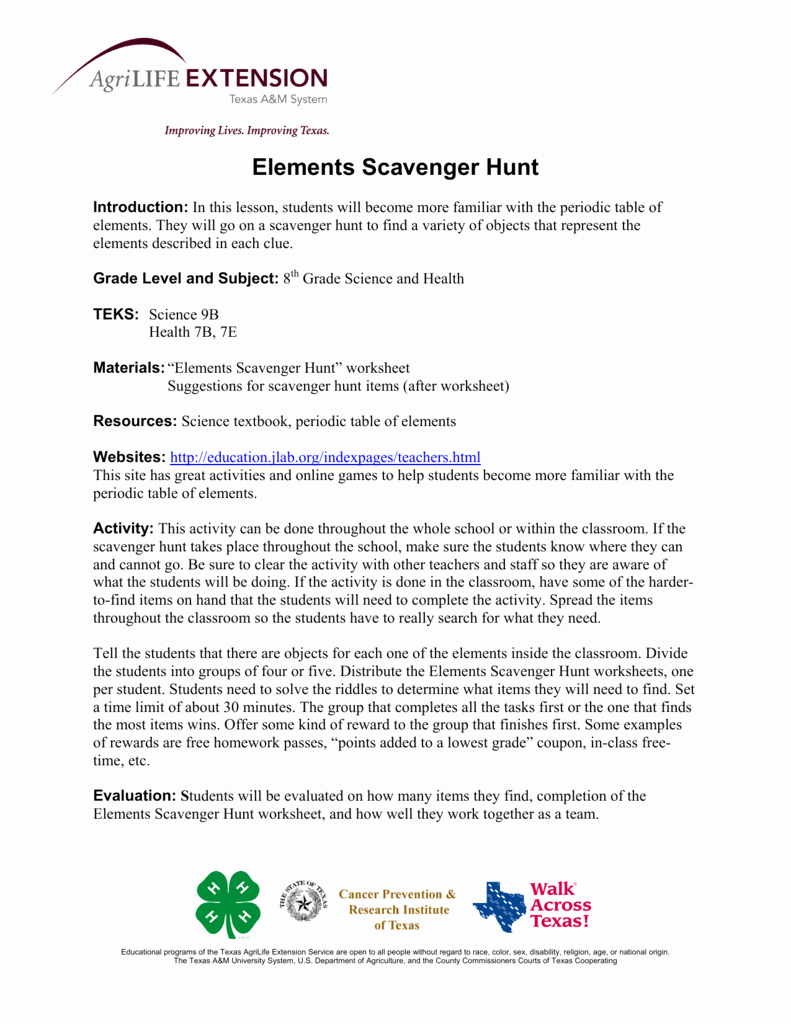 Hunting the Elements Worksheet Answers Unique Element Scavenger Hunt Worksheet Answer Key