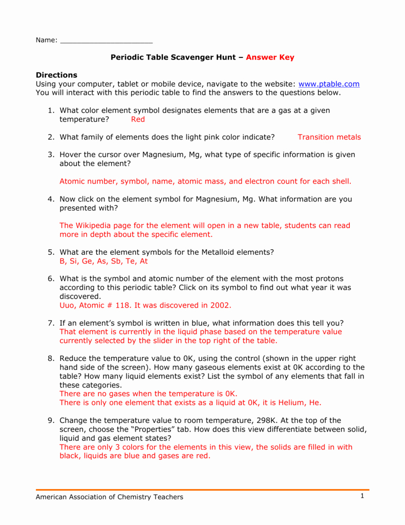Hunting the Elements Worksheet Best Of Periodic Table Scavenger Hunt – Answer Key Directions