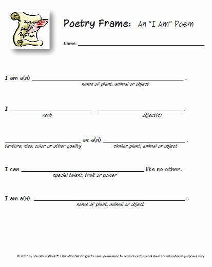 "I Am Poem Worksheet Best Of Poetry Frame ""i Am"" Poem"